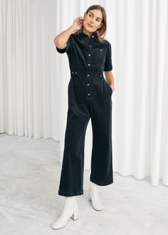 Corduroy boiler style jumpsuit with elbow length sleeves, front button closures and a defined waistline. No stretchStraight legKick flare ankleFront patch pocketPointed collarLength of inseam: / (size Model wears: EU UK US 4 / Small Model height: / Basic Wardrobe Essentials, Wardrobe Basics, Capsule Wardrobe, Navy Jumpsuit, Jumpsuit Outfit, Pants Outfit, Boiler Suit, Best Leggings, Fashion Story