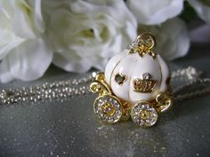 """Girls Necklace Cinderella Pumpkin Carriage. How cute to give to your flower girl and/or bridesmaids. """"Thank you for helping my fairytale come true""""."""