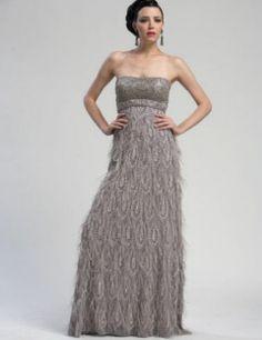 Sue Wong Formal Strapless Beaded Dropwaist Feather Dress