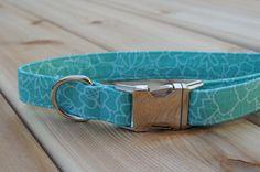 Floral Dog Collar, Feminine Turquoise Collar, Aqua Female Pet Collar, Preppy, Modern Silver Metal Buckle