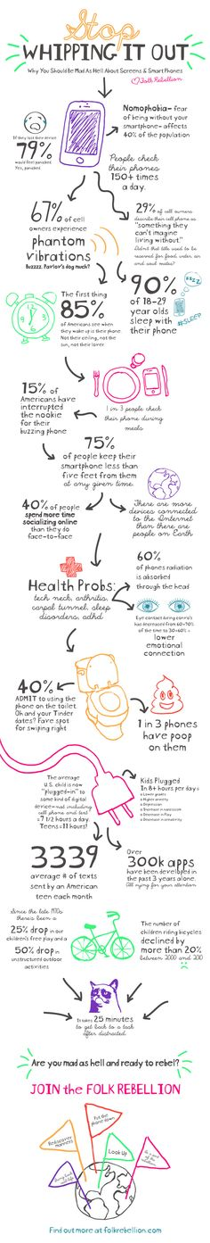 Infographic on screen, phone, digital usage. And why you should be mad as hell and unplug! Created by for the National Day of Unplugging folk-rebellion-screens-and-smartphones-infographic New Quotes, Change Quotes, Quotes For Kids, Funny Quotes, Inspirational Quotes, Motivational, Funny Memes, Cell Phone Quotes, Love Truths