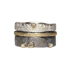 Bedrock Stacking Bands by Jenny Reeves: Gold, Silver, and Stone Ring available at www.artfulhome.com