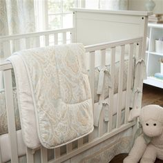 Blue And Taupe Paisley Three Piece Crib Bedding Set For Gender Neutral
