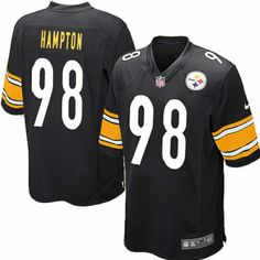 Game Casey Hampton Pittsburgh Steelers Black Youth Jersey #98 Nike NFL Jersey Sale