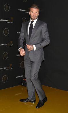 Looking razor sharp in this grey suit.