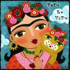 frida-kahlo-and-cat-lulu-mypinkturtle.jpg (900×900)