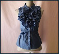 Anthropologie Blouse S 0 By Blue Robin Ruffles Sleeveless Cocktail Buttonned Top
