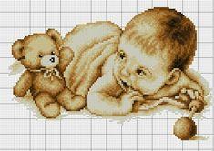 Baby Cross Stitch Patterns, Cross Stitch For Kids, Cross Stitch Baby, Cross Stitch Charts, Cross Stitch Fruit, Cross Stitch Needles, Baby Stork, Pixel Drawing, Bordados E Cia
