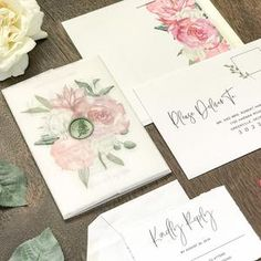 Vellum Wedding Invitation Set with Sage Wax Seal and Printed Dusty Pink Watercolor Florals & Greenery, Elegant Hand Torn Deckled Edge Invite Timeless Wedding, Chic Wedding, Floral Wedding, Wedding Decor, Rustic Wedding, Wedding Ideas, Bohemian Wedding Invitations, Glitter Wedding Invitations, Classic Wedding Invitations