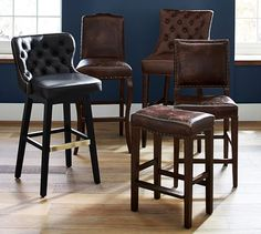 Caldwell Tufted Leather Swivel Barstool | Pottery Barn