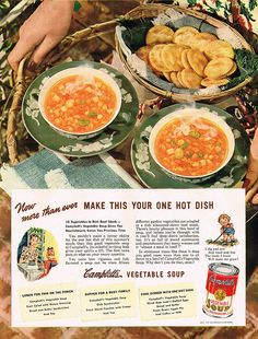 Make Campbell's Your One Hot Dish! #vintage #1940s #food #soup #ads
