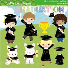 Graduation Digital Clipart set includes 26 cute graphics+ 1 background    Graphics are PERFECT for the Scrapbooking, Cards Design, Stickers,