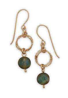 Gold-Filled Green Agate Earrings