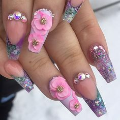 decorated nails with reliefs spectacular models Crazy Nails, Fancy Nails, Bling Nails, Swag Nails, Stiletto Nails, Coffin Nails, Acrylic Nails, Fabulous Nails, Perfect Nails
