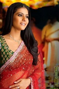 Bollywood Celebrity,Kajol in a red sari and green blouse. Kajol Saree, Bollywood Saree, Indian Bollywood, Bollywood Actors, Bollywood Celebrities, Bollywood Fashion, Shahrukh Khan And Kajol, Ranveer Singh, Fashion Week