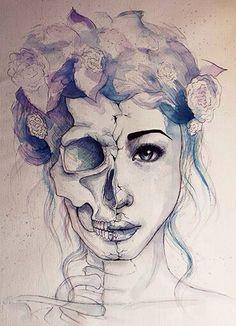 skull face half
