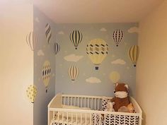 Enchanted Interiors Premium Self Adhesive Fabric Nursery Wall Art Stickers    Hot Air Balloons and Clouds in Yellow, Navy Blue, Grey and White