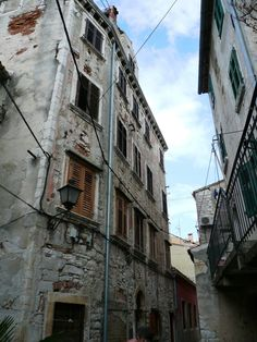 Winding pathways and apartments in Rovinj, Croatia.