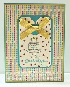 Endless Birthday Wishes Stampin' Up Photopolymer stamp set - birthday card with Chalk Talk Framelits die and Birthday Basics DSP.