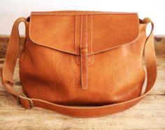 SATCHEL Leather Bag // Big Leather handbag // Brown coach leather bags // Messenger Tote bag ORGANIC XL