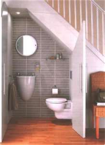 under the stairs powder room