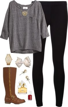 Dark Neutrals by classically-preppy featuring michael kors jewelry ❤ liked on PolyvoreH&M jersey shirt, $21 / James Perse legging / Michael Kors  jewelry / J.Crew pearl stud earrings / Gold plated monogram necklace / White hair bow / Marc Jacobs daisy perfume, $72 / Essie nail polish / Irina - JustFab