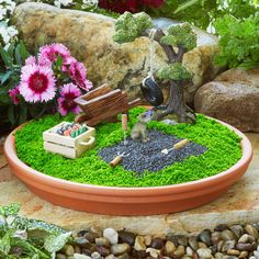 Rustic Clay Saucer Fairy Garden. www.teeliesfairygarden.com . . . This project is easy. You just need a clay saucer and create a fairy garden of your own desire. The fairies would adore it! #fairyscoop