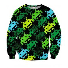SPACE INVADERS Bluza Full Print 3D Bez Kaptura