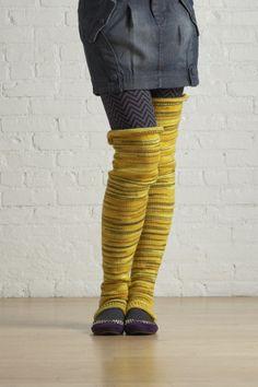 Free Knitting Pattern 70781AD Thigh High Footless Socks : Lion Brand Yarn Company