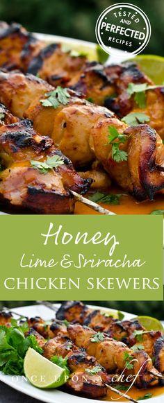 Honey, Lime & Sriracha Chicken Skewers