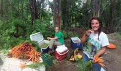 May Family Farm seasonal interns Andrea & Paige preparing fresh picked sweet carrots for the Taos Farmers Market tomorrow.