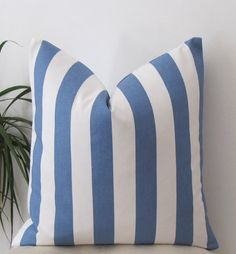 Canopy Stripe Baby Blue Pillow Cover  Pillow by precioussewingbox, $28.00