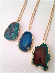 Geode Pendant Long Necklace, 24kt gold edging