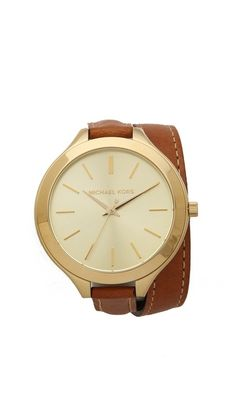 $160.00 on @Keaton Row website, arranged with full of fashion... click to see it in action. A delicate leather wrap band perfectly balances the oversized dial on this gold-plated watch. Adjustable length and buckle closure.  Water resistant to 50 meters. 2-year manufacturer warranty. Imported. MEASUREMENTS Dial: 1.5in / 4cm Band: 0.5in / 1.5cm Length: 16in / 40.5cm