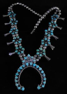 Zuni Squash Blossom Necklace Turquoise Hand Forged Silver