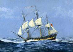 """Carlos Parrilla Penagos - Pintura naval. """"Fragata"""". Fragata española vista por su costado de babor, navegando durante un temporal con las gavias arrizadas."""