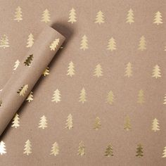 Gold Foil Christmas Tree Kraft Wrapping Paper #holiday