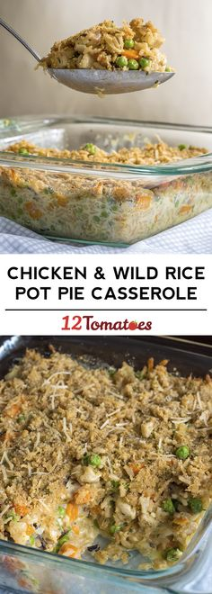 It will only take a bite or two for this Chicken & Wild Rice Pot Pie Casserole to become one of your favorite recipes!