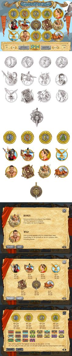 """Development of graphic design, icons, symbols, the paytable and interface for the game slot-machine """"Gladiator"""" http://slotopaint.com/"""