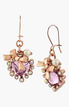 Betsey Johnson Embellished Heart Drop Earrings