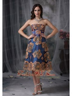 ce1fc6c58b Buy urbane multi color homecoming dress strapless tea length taffeta with  appliques from popular homecoming dresses collection