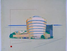 Early #design of Frank L. Wright #Guggenheim #museum in #NYC - A peach version