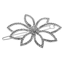 L. Erickson Rhinestone Flower Paramount Barrette w/ Tige Boule ($26) ❤ liked on Polyvore featuring accessories, hair accessories, flower hair accessories, flower hair clip, barrette hair clip, rhinestone hair clips and l. erickson
