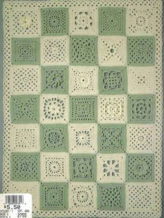 Granny Square Sampler, 35 Squares ~ by Martha Brooks Stein; Leisure Arts #2755 booklet, pub. Jan. 1995 (out of print)