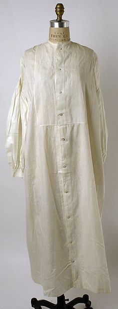 Nightgown, 1860s, American, cotton