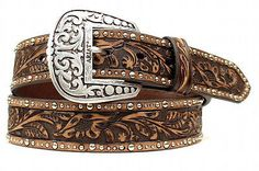 Details about Ariat Western Womens Belt Leather Embossed Inlay Studded Brown Ariat Western Damengürtel Leder Geprägt Inlay Nagel Braun Custom Leather Belts, Leather Belt Buckle, Western Belt Buckles, Western Belts, Studded Leather, Leather Tooling, Western Wear, Tooled Leather, Custom Belts