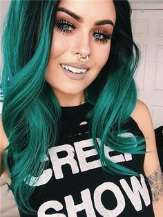 Items similar to Green hair/Colored hair/Hair bundles/Human hair/Green hair extensions/Human Hair Wefts/Straight hair/wavy extension on Etsy Blue Hair, Emerald Green Hair, Teal Hair Color, Bright Colored Hair, Colorful Hair, Wild Colored Hair, Purple And Green Hair, Dark Teal Hair, Teal Ombre Hair