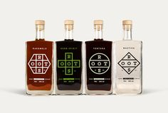 "Branding and packaging design for a range of premium spirits. The branding consists of a strong, yet organic and versatile logo that transforms each time into a unique shape, without losing the brand's identity, to convey the essence of the basic ingredient: a hexagon for the honey-based ""Rakomelo"", a cross for the monastic ""Herb Spirit"", a circle for the cinnamon-based ""Tentura"" and a rhombus for the ""Mastiha"".  All for one and one for all. (don't drink and drive)  <a title=""Roo..."