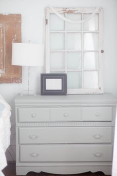"DIY Chalk Paint Nightstand (""I took a tablespoon of unsanded grout and poured it directly into the sample"" Grey Dresser, Dresser As Nightstand, Cheap Furniture, Furniture Making, Painted Furniture, White Bedroom Set, Painted Night Stands, Furniture Removal, Old Doors"