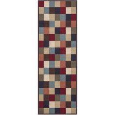Ottomanson Ottohome Contemporary Checkered Non-Skid Modern Rugs, Multi-Color, Multicolor